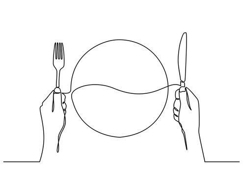 continuous line drawing of top view of the plate with hands holding a knife and fork in the white background, ready to eat