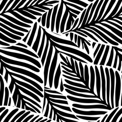 monochrome Jungle geometric seamless pattern. Exotic plant.