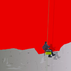 Concept de la rénovation,avec un peintre en bâtiment suspendu à une nacelle qui recouvre un mur de béton de peinture rouge.