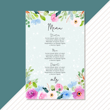 wedding menu card with blue pink floral watercolor frame