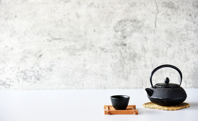 japanese tea set oriental drink style on the table Wall mural