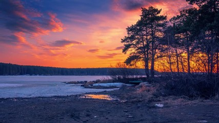 Fotobehang - Beautiful pine trees silhouettes at frozen pond lake, epic colorful sunset sky in background. Hyperlapse timelapse, 4K UHD.