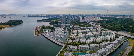 Wall Mural - Panorama aerial view of keppel bay with modern residence in Singapore city.