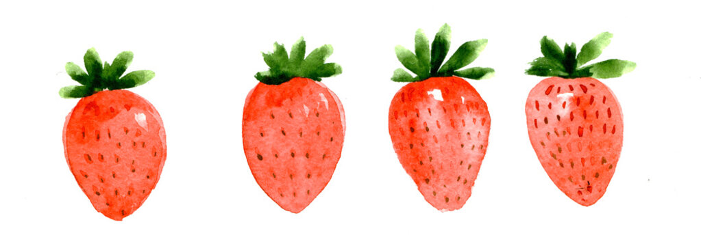 Set of watercolor strawberry on white background