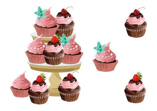 Cake on stand. Birthday design..Vector illustration.
