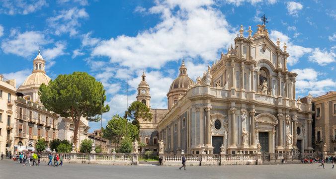 CATANIA, ITALY - APRIL 8, 2018: The Basilica di Sant'agata and church Chiesa della Badia di Sant'Agata with the main square.