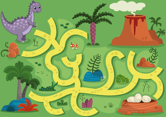 Vector illustration maze game with dinosaur theme. Can you help the dinosaur to find the eggs?