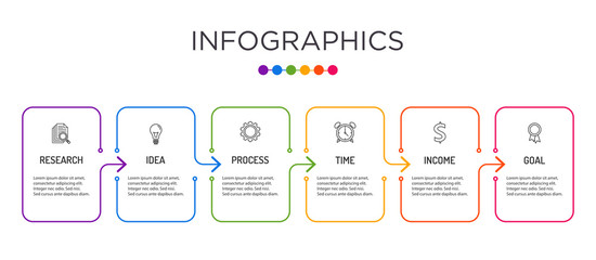 Full-color business label Infographic template.