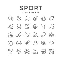 Set line icons of sport