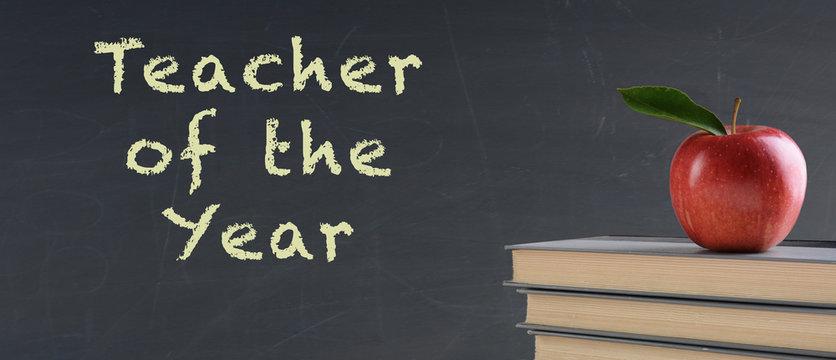 School Concept: Teacher of the Year on Chalkboard