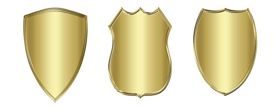 collection golden metal shield or crest isolated on white
