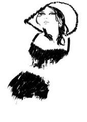 fashion illustration black and white Print