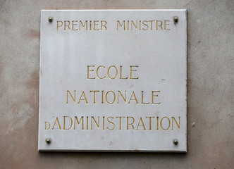"""A signe that reads """"Prime Minister, National School of Administration"""" is seen on France's National School of Administration, ENA, (Ecole Nationale d'Administration) building in Strasbourg"""