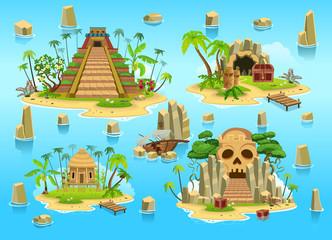 Set of tropical islands.Сartoon map elements.Vector illustration.