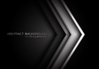 Abstract grey metallic arrow direction on black with text design modern futuristic background vector illustration.