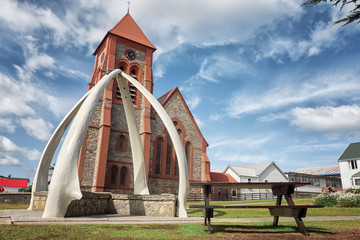 The whale bone arch at Christ Church Cathedral in Port Stanley,the Falklands Wall mural