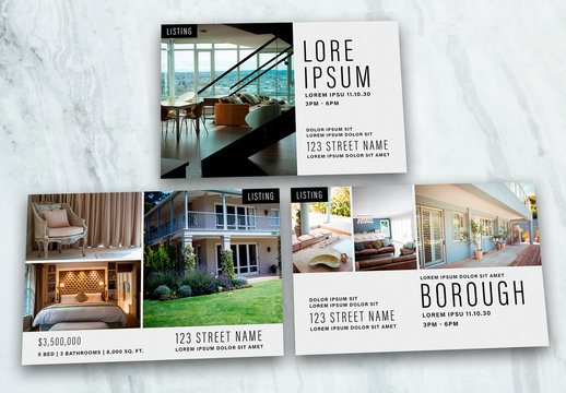 Real Estate Postcard and Poster Layouts