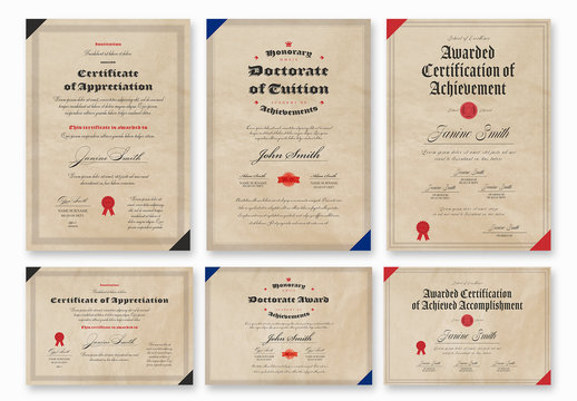 Certificate Layouts with Worn Paper Backgrounds