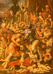 ACIREALE, ITALY - APRIL 11, 2018: The painting of The Masacre of Innocents in Duomo - cattedrale di Maria Santissima Annunziata by Matteo Ragonisi (18. cent.).