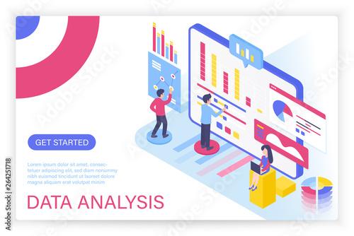 Data analysis process, big data concept isometric