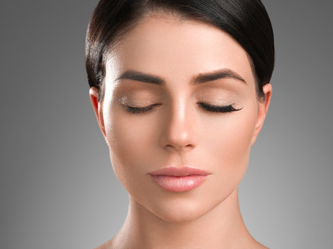 Lashes extensions woman eyes macro beauty