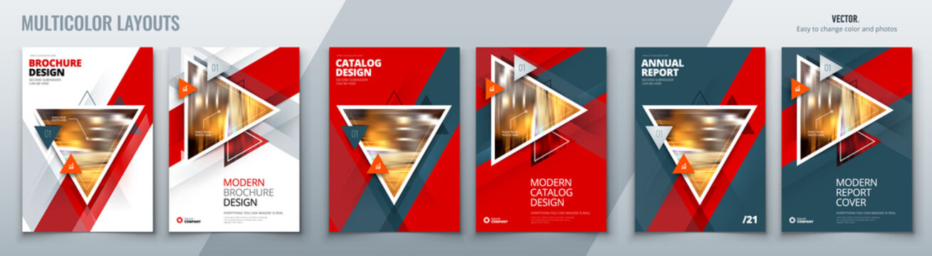 Brochure template layout design with triangles. Corporate business annual report, catalog, magazine, flyer mockup. Creative modern bright concept with triangle shapes