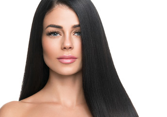 Beautiful long hair woman with black hairstyle