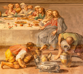 Fototapete - ACIREALE, ITALY - APRIL 11, 2018: The detail of fresco of The miracle at the wedding at Cana in Duomo by Pietro Paolo Vasta (1735-1739).