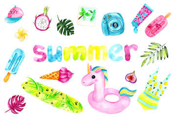 Bright watercolor summer seamless set. Summer pattern with a unicorn rubber ring, camera, swimsuit, baseball cap, monstera leaf. Fashionable pattern for the summer, bright colors.