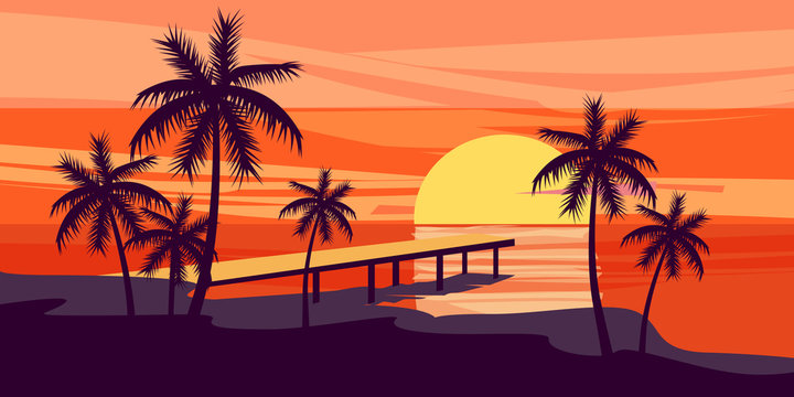 Summer holiday season. Tropical exotic beach sunset ocean sea