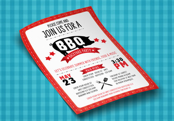 Red and White BBQ Flyer with Pig Illustration