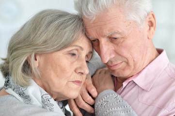 Portrait of a cute sad senior couple posing
