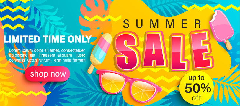 Summer Sale bright poster, hot season discount banner with tropical leaves,ice cream, sunglasses.Invitation for online shopping with 50 percent price off, special offer card,template for design.Vector