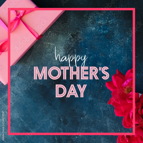 Mothers day square design graphic with text for holiday card or greeting.