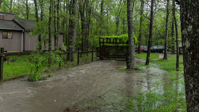 Stream overflowing and flooding yard after a rainstorm