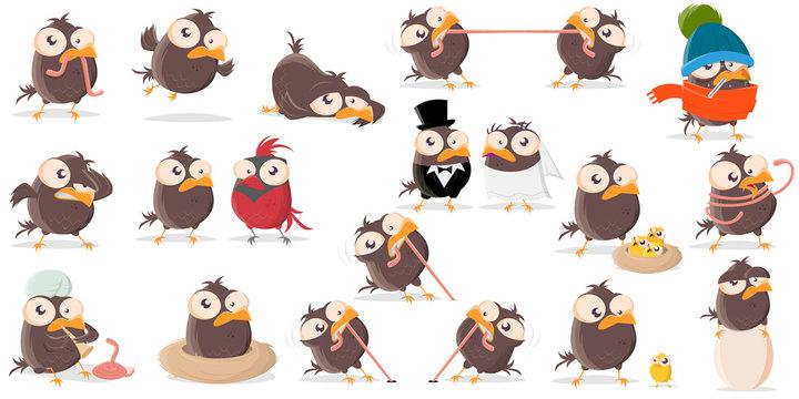 funny cartoon bird clip-art collection