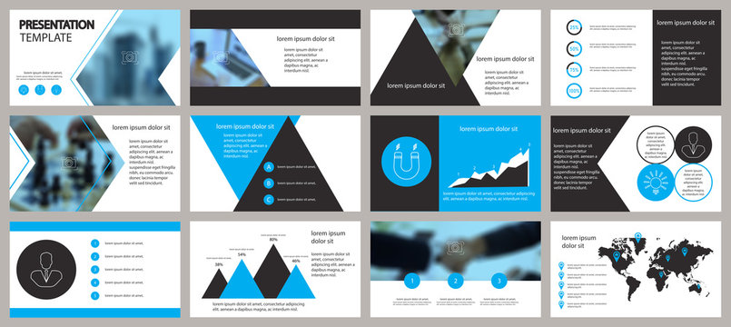 Blue and black presentation template. Elements for slide presentations on a white background. Flyer, brochure, corporate report, marketing, advertising, annual report, banner