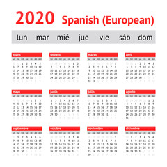 Calendar 2020 (Spain). European Spanish Calendar. Week starts on Monday