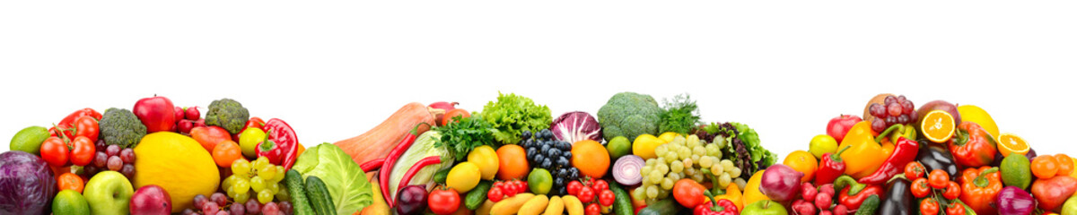 Panorama fresh fruits and vegetables isolated on white background.