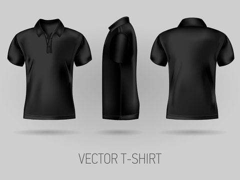 black short sleeve polo shirt design templates front, back, and side views . vector t-shirt mock up