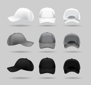 set of white, black and gray baseball cap, . realistic vector mockup