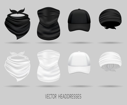 set of white and black head bandanas and cap, neck scarf and buff. realistic vector mock up