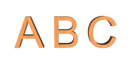 3D illustration of ABC text with wooded texture on white background. 3D rendering.