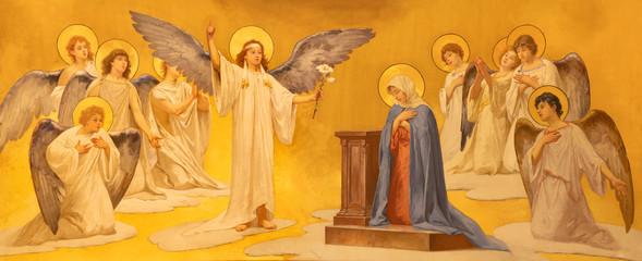 ACIREALE, ITALY - APRIL 11, 2018: The fresco of Annunciation in Duomo - cattedrale di Maria Santissima Annunziata by Giuseppe Sciuti (1907).