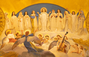 Fototapete - ACIREALE, ITALY - APRIL 11, 2018: The fresco Choir of angels and the virgins in Duomo - cattedrale di Maria Santissima Annunziata by  Giuseppe Sciuti (1907).