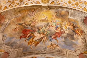 Wall Mural - ACIREALE, ITALY - APRIL 11, 2018: The Lamb of God among the angels fresco on the ceiling of Duomo - cattedrale di Maria Santissima Annunziata by Pietro Paolo Vasta (1737).