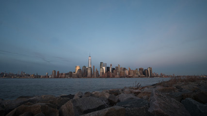 Wide Angle Picture of Downtown Manhattan From Liberty Park in New Jersey