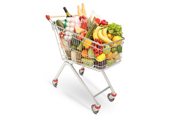 Shopping cart with different food products