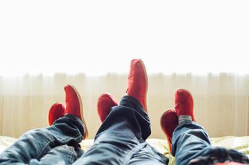 Feet of Family Lying Down