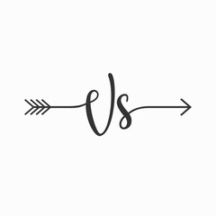 Letter VS Arrow Bohemian logo